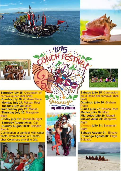 Calendario de Actividades Festival del Caracol en Guanaja, Honduras.