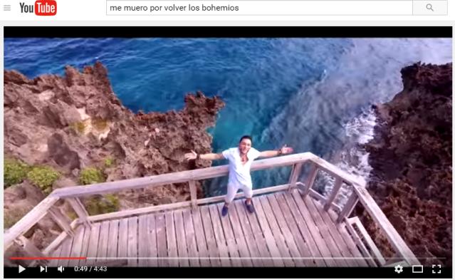 """video de Los Bohemios cuyas grabaciones se hicieron en el muelle """"Key Hole"""" de Roatán"""