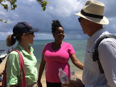 Brenda and David on the island of St. Helene helping the ladies make hand bags out of plastic trash and reselling it at the Grand.