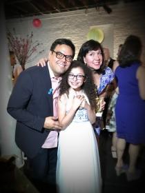 Una foto para el recuerdo: Marian junto a Kristen Anderson-Lopez y Robert Lopez en abril 2018